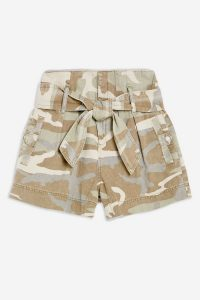 TOPSHOP Camouflage Paperbag Shorts in Khaki