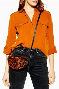 Topshop Cancun Acrylic Cross Body Bag in Tortoiseshell | half moon bags