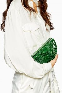 Topshop Cancun Acrylic Cross Body Bag in green