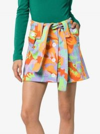 Cap Micheline Belted Skirt / abstract florals