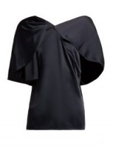PETER PILOTTO Cape-sleeved asymmetric satin top in navy ~ contemporary fluid tops