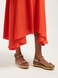 CHRISTIAN LOUBOUTIN Cataclou 60 leather flatform espadrille sandals in brown ~ leopard print studded flatforms