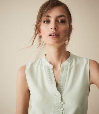 REISS CECILY SILK BUTTON DETAIL TOP AQUA ~ little details make all the difference