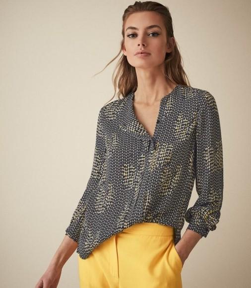 REISS CELESTE PRINTED BLOUSE NAVY ~ collarless blouses