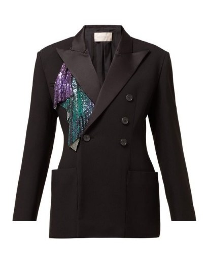 CHRISTOPHER KANE Chainmail-trim double-breasted tuxedo jacket in black ~ glitzy addition - flipped