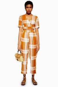 TOPSHOP Check Peg Trousers in Cinnamon