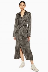 TOPSHOP Check Wrap Shirt Dress in Black by Boutique
