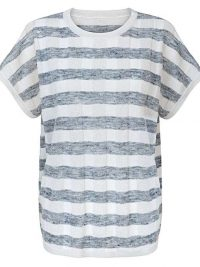 Oliver Bonas Checked Blue Sparkle T-Shirt / textured check tee