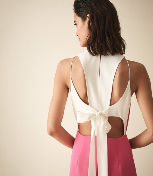REISS CHEYENNE BOW DETAIL MIDI DRESS PINK ~ back feature event dresses