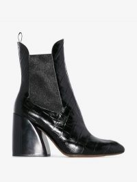 Chloé Black Wave 90 Crocodile Embossed Leather Chelsea Boots / chunky heeled boot