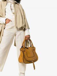 Chloé Brown Croc Print Embossed Leather Shoulder Bag / luxe handbags