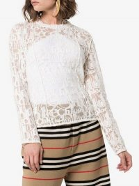 Chloé Lace Logo Cotton Blend Top in White / semi sheer designer tops