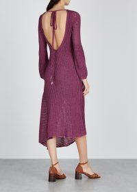CHLOÉ Plum knitted midi dress | asymmetric knitwear | open back dresses