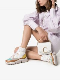 Chloé White Sonnie Leather High-Top Sneakers | colourful trainers