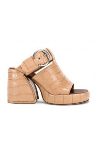 CHLOE Buckle Platform Sandals in Nougat | chunky retro mules
