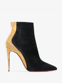 Christian Louboutin Black And Gold Metallic Delicotte 100 Suede Leather Boots / paneled booties