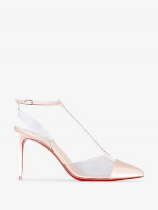 Christian Louboutin Nude Nosy Strass 85 Satin Pumps / clear PVC T-bar shoes / luxe footwear