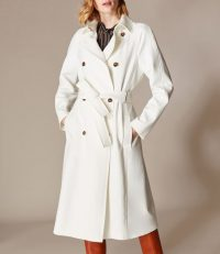 KAREN MILLEN Classic Belted Trench Coat in Ivory ~ essential wardrobe classics