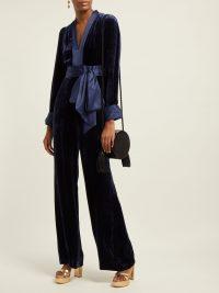 DIANE VON FURSTENBERG Claude satin-trimmed velvet jumpsuit | Matches Fashion