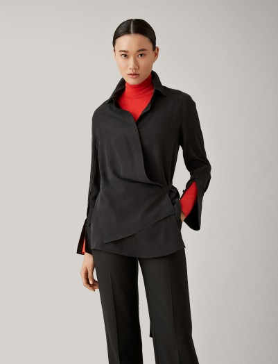 Joseph Claudi Top Silk Toile Blouse in black ~ contemporary wrap top