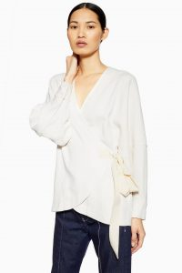 Topshop Boutique Collarless Wrap Top in Ivory