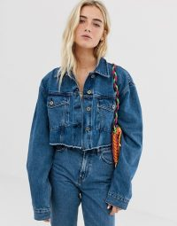 COLLUSION raw hem denim jacket & jeans co-ord – casual blue jackets