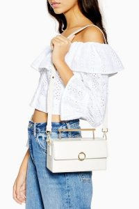 TOPSHOP Coro Boxy Grab Bag in White / stylish croc shoulder bags