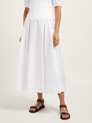 GABRIELA HEARST Corrales corset-waist cotton poplin midi skirt in white ~ high waist summer skirts