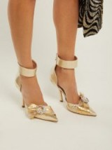Luxe ankle strap courts ~ MIDNIGHT 00 Corset lamé & PVC pumps in gold