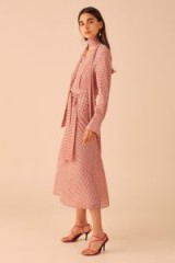 C/MEO COLLECTIVE COUNTING ALL LONG SLEEVE MIDI DRESS in Cherry Check / red checked dresses