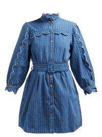 M.I.H JEANS Covey scalloped cotton-chambray dress | high neck denim shirt dresses