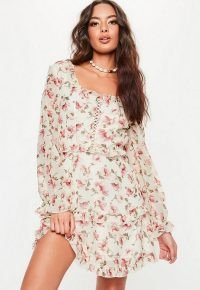 MISSGUIDED cream milkmaid lace up floral tea dress ~ pretty pink flowers