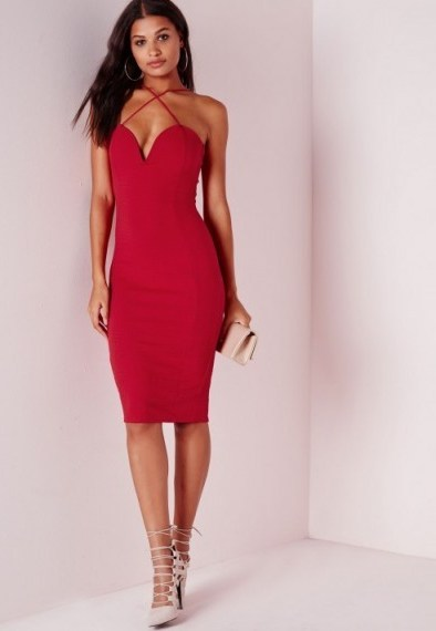 Evening glamour – Missguided croc textured plunge midi dress in red. Strappy party dresses / going out fashion / plunging necklines - flipped