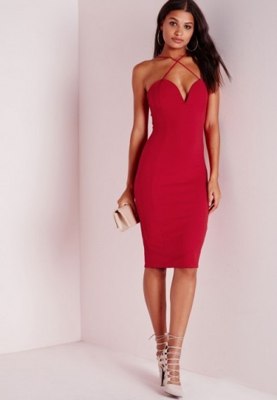 Evening glamour – Missguided croc textured plunge midi dress in red. Strappy party dresses / going out fashion / plunging necklines