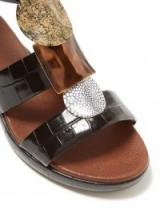 CHLOÉ Crocodile-effect black leather gladiator sandals