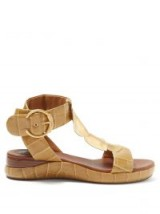 CHLOÉ Crocodile-embossed leather sandals in khaki ~ chic boho shoes