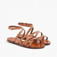 J.Crew Cross-strap flat sandals in studded leather in Natural | strappy stud embellished flats | casual summer shoes