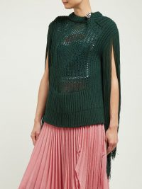 CALVIN KLEIN 205W39NYC Crystal brooch embellished fringe sweater in green