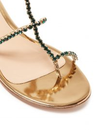 GIANVITO ROSSI Crystal-embellished leather sandals in gold ~ small details / big impact