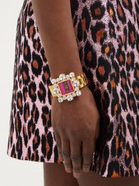 MIU MIU Crystal-embellished watch bracelet ~ square face statement watches
