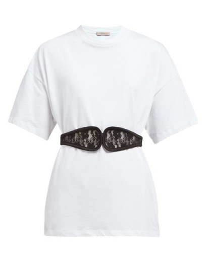 CHRISTOPHER KANE C-string belted cotton T-shirt white ~ classic tee with a stylish update