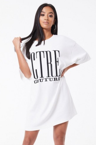 THE COUTURE CLUB CTRE T-SHIRT DRESS WHITE / BLACK ~ casual tee dresses
