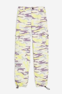 TOPSHOP Cuffed Camo Utility Trousers in Lime