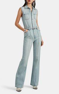 CURRENT/ELLIOTT Zenith Denim Flared Jumpsuit in light-blue ~ sleeveless jumpsuits