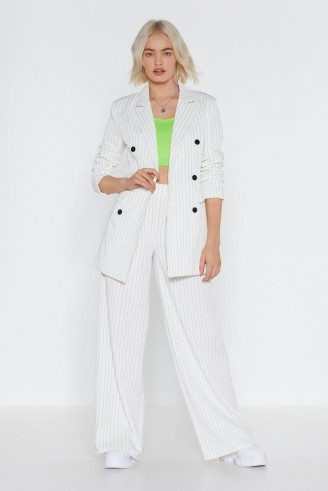 NASTY GAL Cut in Line Longline Pinstripe Blazer – white thin stripe jacket