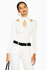 Topshop Cut Out Long Sleeve Top in White | fitted cold shoulder tops