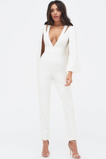 Lavish Alice cut out neck cape jumpsuit in white – plunging necklines