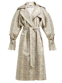 A.W.A.K.E. MODE Dana python-print cotton-blend trench coat in beige / reptile prints / luxury belted coats
