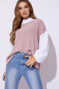 DANI DYER PINK COLOUR BLOCK JUMPER ~ drop shoulder sweater