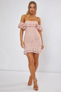 DANI DYER PINK LACE BARDOT MINI DRESS – off shoulder going out dresses